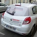 Une voiture de Toshiba TFIS Ile-de-France à Boulogne-Billancourt début mars.