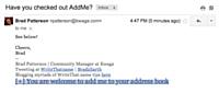 [en bas] Un lien AddMe dans une signature d'e-mail.