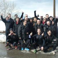 Les équipes d'Oracle, de Business & Decision et de Digora pendant le défi sportif.